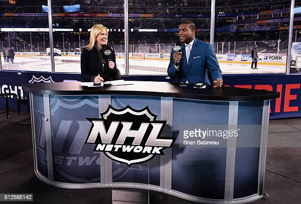 Network broadcasters Kathryn Tappan and Kevin Weekes host the 2016 Coors Light Stadium Series Alumni Game between the Detroit Red Wings and Colorado...
