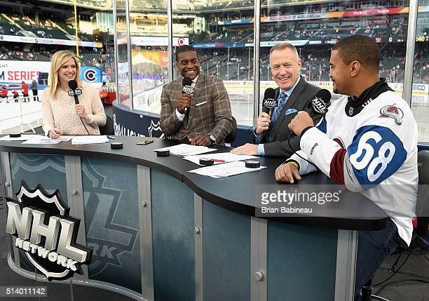 NHL Network broadcasters Kathryn Tappan Kevin Weekes and Dave Reid speak with Ryan Harris of the the NFL's Denver Broncos before the 2016 Coors Light...