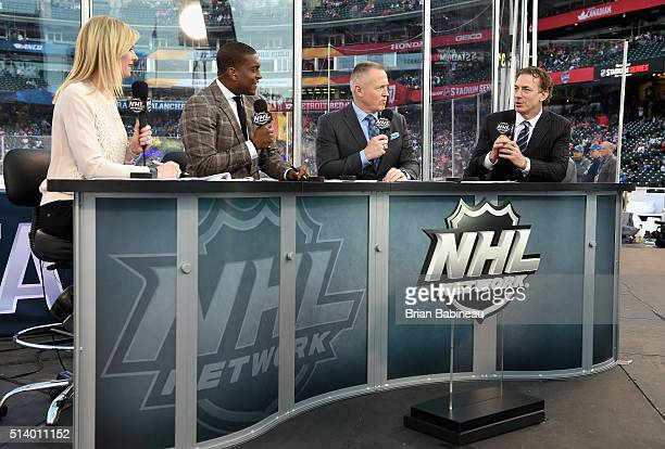 NHL Network broadcasters Kathryn Tappan Kevin Weekes and Dave Reid speak with Colorado Avalanche alumni Joe Sakic before the 2016 Coors Light Stadium...