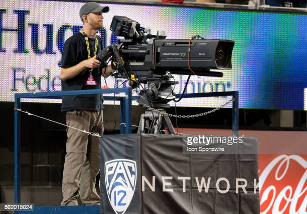 Network camera operator looks at his moinitor during the college football game between the UCLA Bruins and the Arizona Wildcats on October 14 at...