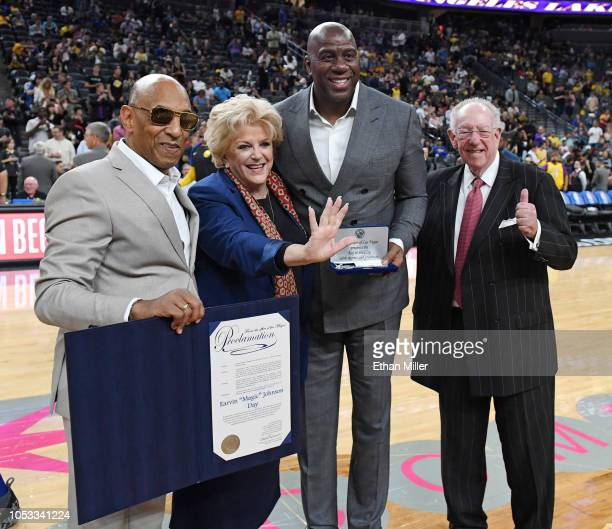 ACE Network CEO Andre Cleveland Las Vegas Mayor Carolyn Goodman Los Angeles Lakers president of basketball operations Earvin Magic Johnson and...