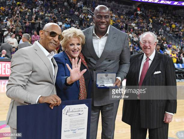 ACE Network CEO Andre Cleveland Las Vegas Mayor Carolyn Goodman Los Angeles Lakers president of basketball operations Earvin 'Magic' Johnson and...
