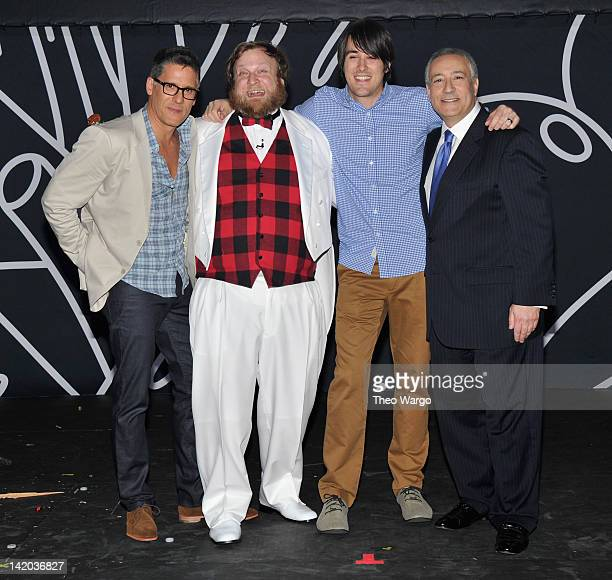 Network Chief Content Officer Rob Sorcher Pendleton Ward J G Quintel and Cartoon Network President/COO Stuart Snyder pose onstage at the Cartoon...