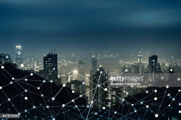 network city digital connection technology concept - atomic imagery stock pictures, royalty-free photos & images