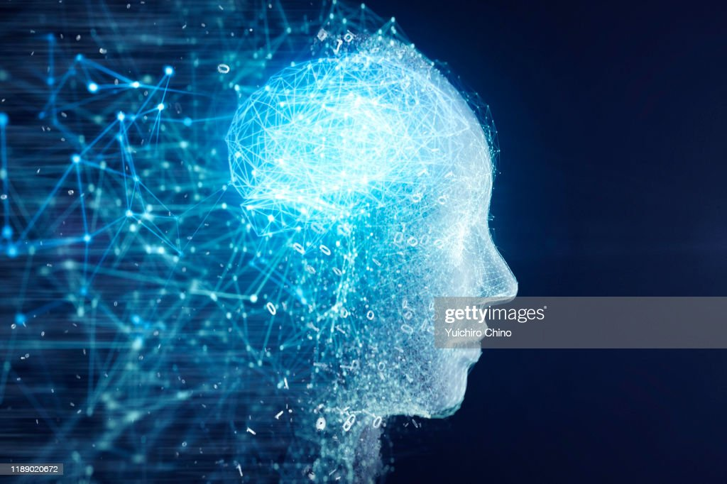Network data forming AI robot face and brain : Stock Photo