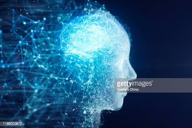 network data forming ai robot face and brain - human brain stock pictures, royalty-free photos & images
