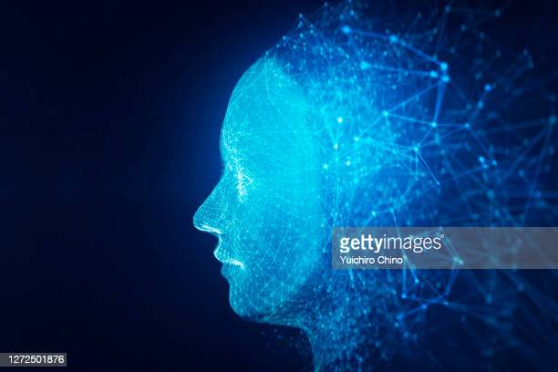 network data forming ai robot face - assistant stock pictures, royalty-free photos & images