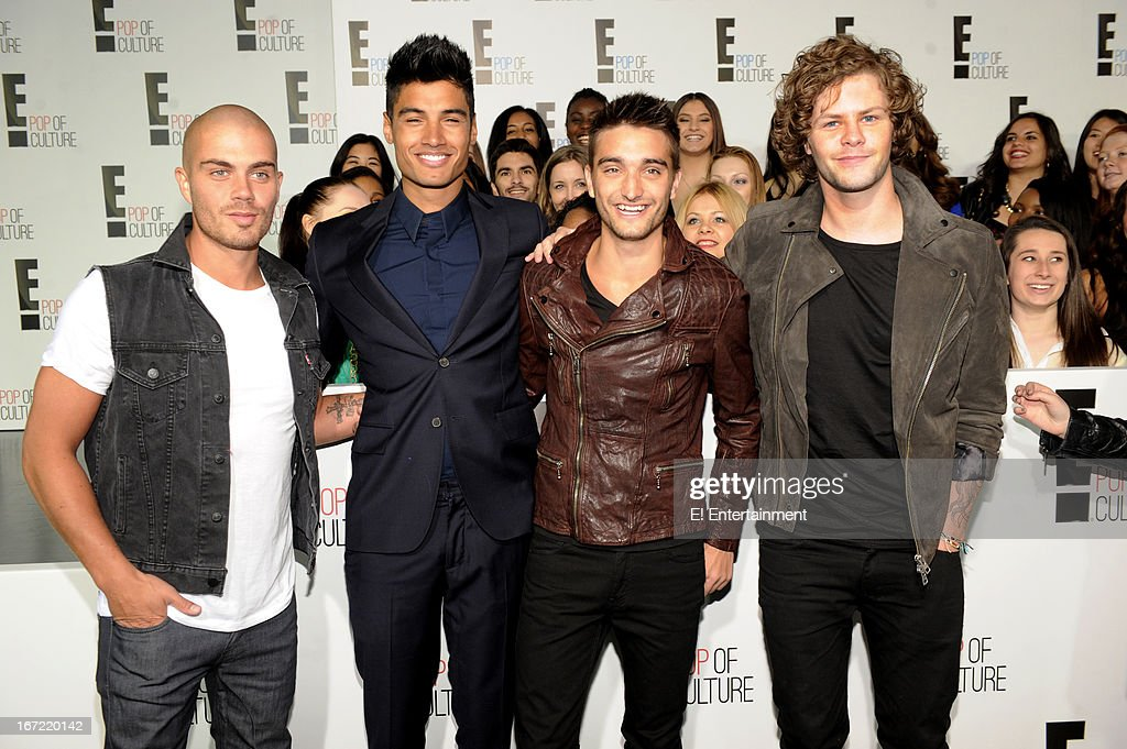 E! Network Events -- 'E! Entertainment 2013 Upfront at The Grand at Manhattan Center Studios' -- Pictured: (l-r) 'The Wanted' Max George, Siva Kaneswaran, Tom Parker, Jay McGuiness --