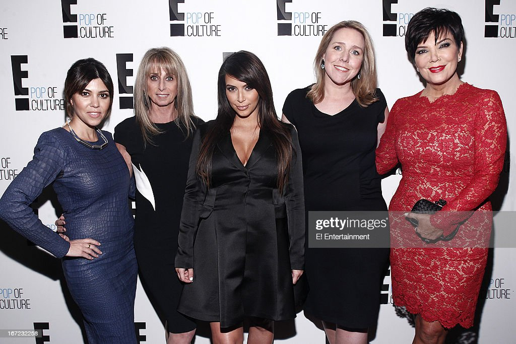 E! Network Events -- 'E! Entertainment 2013 Upfront at The Grand at Manhattan Center Studios' -- Pictured: (l-r) Kourtney Kardashian, Bonnie Hammer, Chairman, NBCUniversal Cable Entertainment Group, Kim Kardashian, Suzanne Kolb, President, E! Entertainment, Kris Jenner --