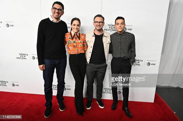 Network EVENTS -- Mr.Robot Tribeca Film Festival Red Carpet and Panel -- Pictured: Sam Esmail, Carly Chaikin, Christian Slater, Rami Malek --