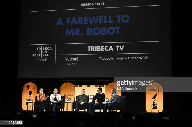 Network EVENTS -- Mr.Robot Tribeca Film Festival Red Carpet and Panel -- Pictured: Carly Chaikin, Christian Slater, Rami Malek, Sam Esmail, Scott...
