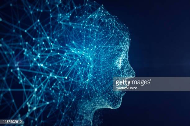 network forming ai robot face - image manipulation stock pictures, royalty-free photos & images