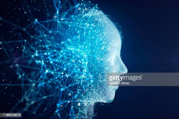 network forming ai robot face - artificial intelligence stock pictures, royalty-free photos & images