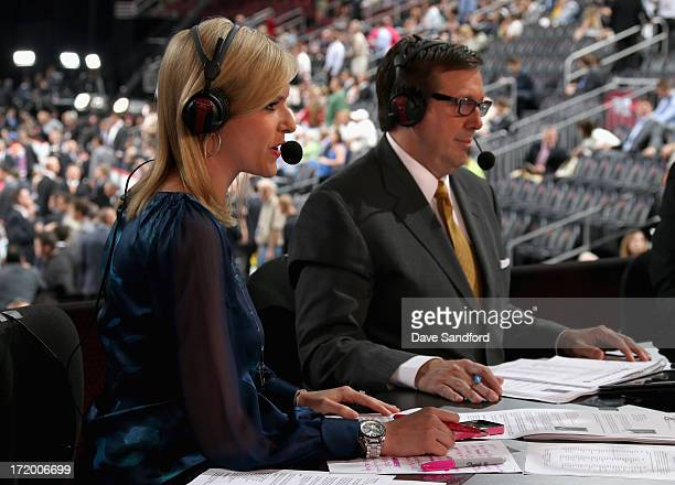 Network host Kathryn Tappan and analyst EJ Hradek sit on the panel during the 2013 NHL Draft at Prudential Center on June 30 2013 in Newark New Jersey