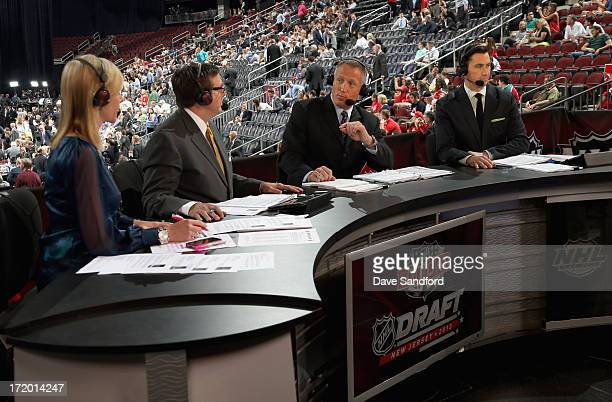 NHL Network host Kathryn Tappan and analysts EJ Hradek Dave Reid and Mike Johnson sit on the panel during the 2013 NHL Draft at Prudential Center on...