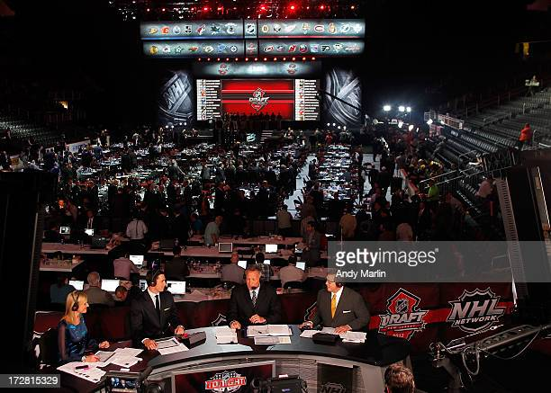 NHL Network host Kathryn Tappan and analysts Mike Johnson Dave Reid and EJ Hradek sit on the panel during the 2013 NHL Draft at Prudential Center on...