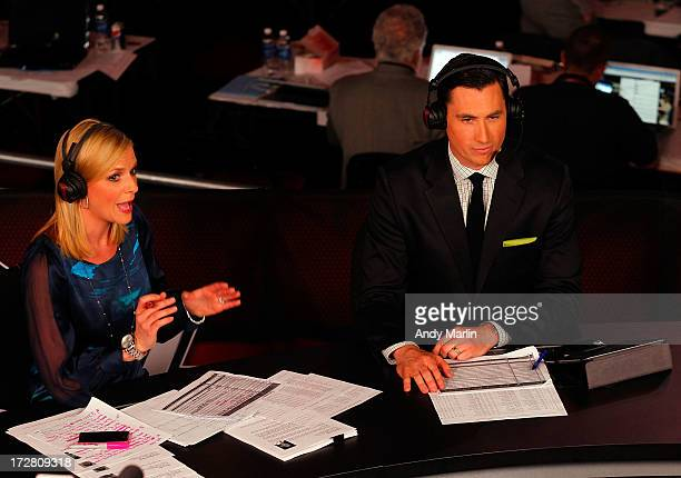 Network host Kathryn Tappan makes her comments as commentator Mike Johnson looks on during the 2013 NHL Draft at Prudential Center on June 30 2013 in...
