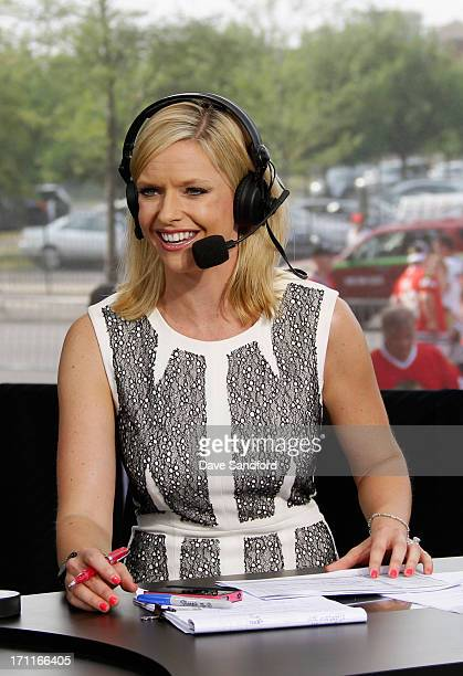 Network host Kathryn Tappan sits on the panel before the Chicago Blackhawks take on the Boston Bruins in Game Five of the 2013 Stanley Cup Final at...