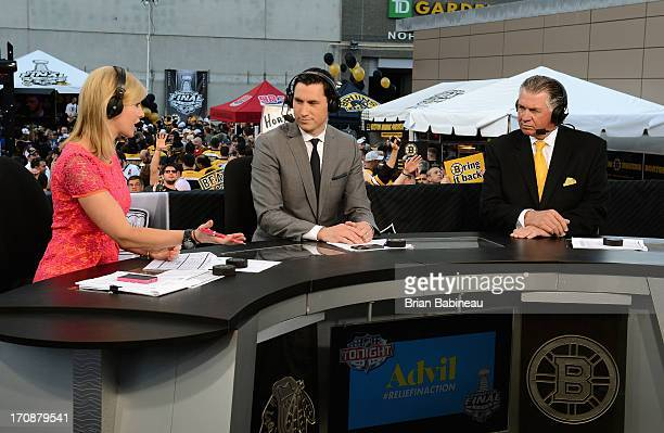 NHL Network host Kathryn Tappan talks with analysts Mike Johnson and Barry Melrose before Game Four of the 2013 Stanley Cup Final between the Chicago...