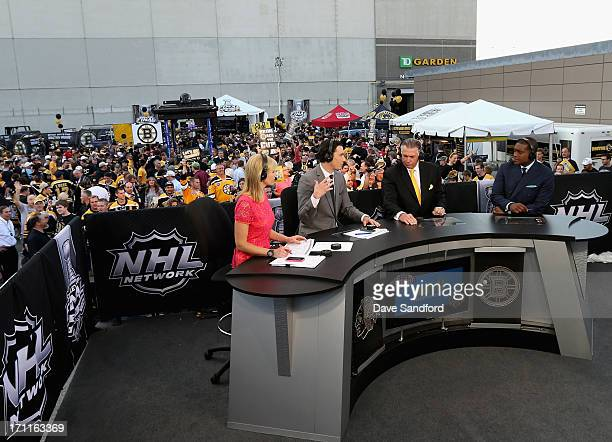 NHL Network host Kathryn Tappan talks with analysts Mike Johnson Barry Melrose and Kevin Weekes before Game Four of the 2013 Stanley Cup Final...