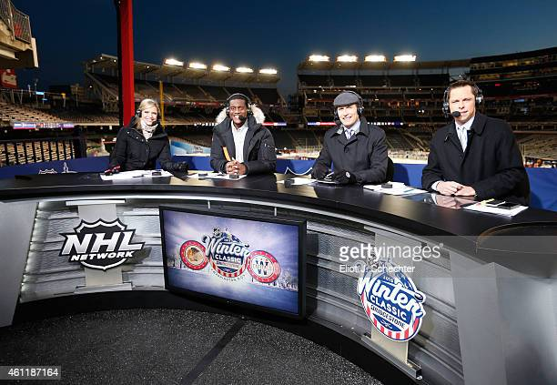 NHL Network host Kathryn Tappen and analysts Kevin Weekes Mike Rupp and Martin Biron look on after the 2015 Bridgestone NHL Winter Classic at...