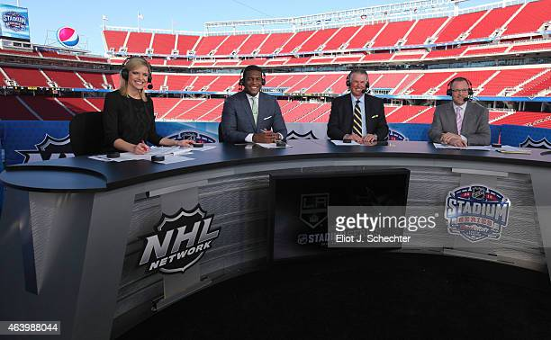 NHL Network host Kathryn Tappen and hockey analysts Kevin Weekes Barry Melrose and Dan Bylsma report from practice day as part of the 2015 Coors...