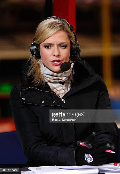 Network host Kathryn Tappen makes commentary during the 2015 Bridgestone NHL Winter Classic between the Chicago Blackhawks and the Washington...