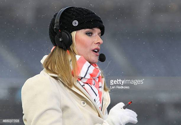 NHL Network host Kathryn Tappen on set during the 2014 NHL Stadium Series practice sessions and family skate at Yankee Stadium on January 25 2014 in...