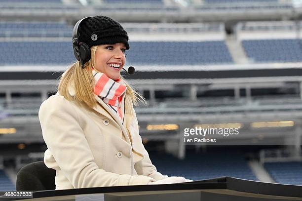 Network host Kathryn Tappen on set during the 2014 NHL Stadium Series practice sessions and family skate for the New Jersey Devils and the New York...
