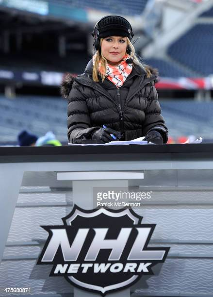 Network host Kathryn Tappen on set during the 2014 NHL Stadium Series practice day on February 28, 2014 at Soldier Field in Chicago, Illinois.