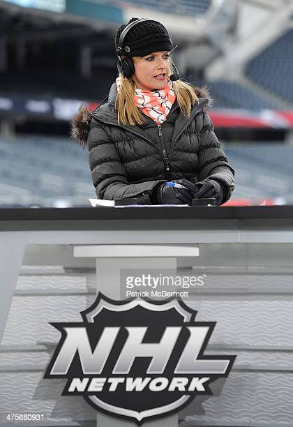 Network host Kathryn Tappen on the set during the 2014 NHL Stadium Series practice day on February 28, 2014 at Soldier Field in Chicago, Illinois.