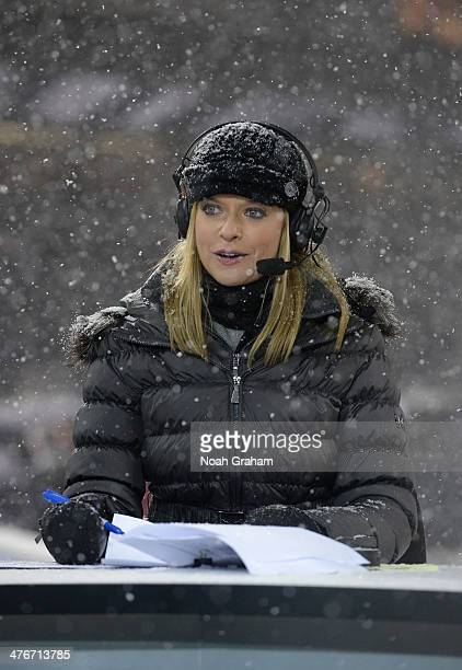 Network host Kathryn Tappen provides commentary during the 2014 NHL Stadium Series game at Soldier Field on March 1, 2014 in Chicago, Illinois.