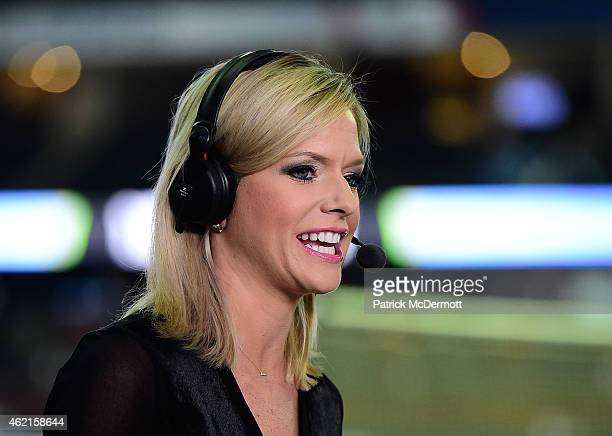 Network host Kathryn Tappen speaks during the pre-game show prior to the 2015 Honda NHL All-Star Game at Nationwide Arena on January 25, 2015 in...