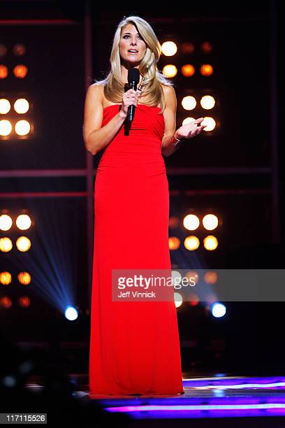 Network Host Michelle Beisner speaks during the 2011 NHL Awards at The Pearl concert theater at the Palms Casino Resort June 22 2011 in Las Vegas...