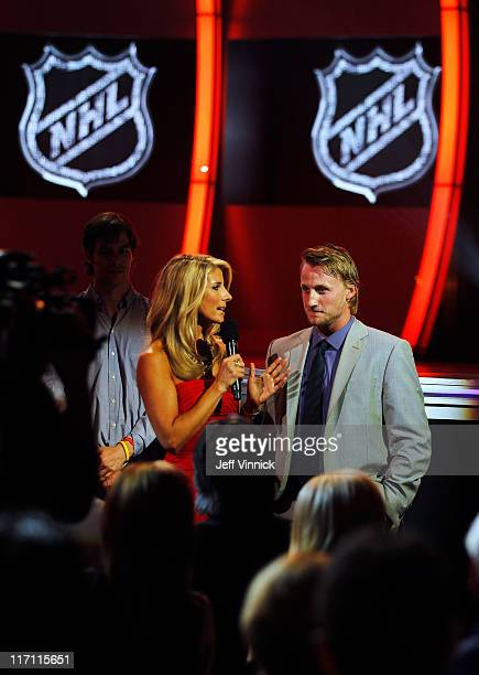Network Host Michelle Beisner speaks to Steve Stamkos of the Tampa Bay Lightning during the 2011 NHL Awards at The Pearl concert theater at the Palms...