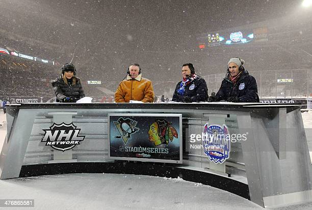 NHL Network hosts Kathryn Tappen Barry Melrose Jamie McLennan and Jamal Mayers look on from the broadcast booth during the 2014 NHL Stadium Series...