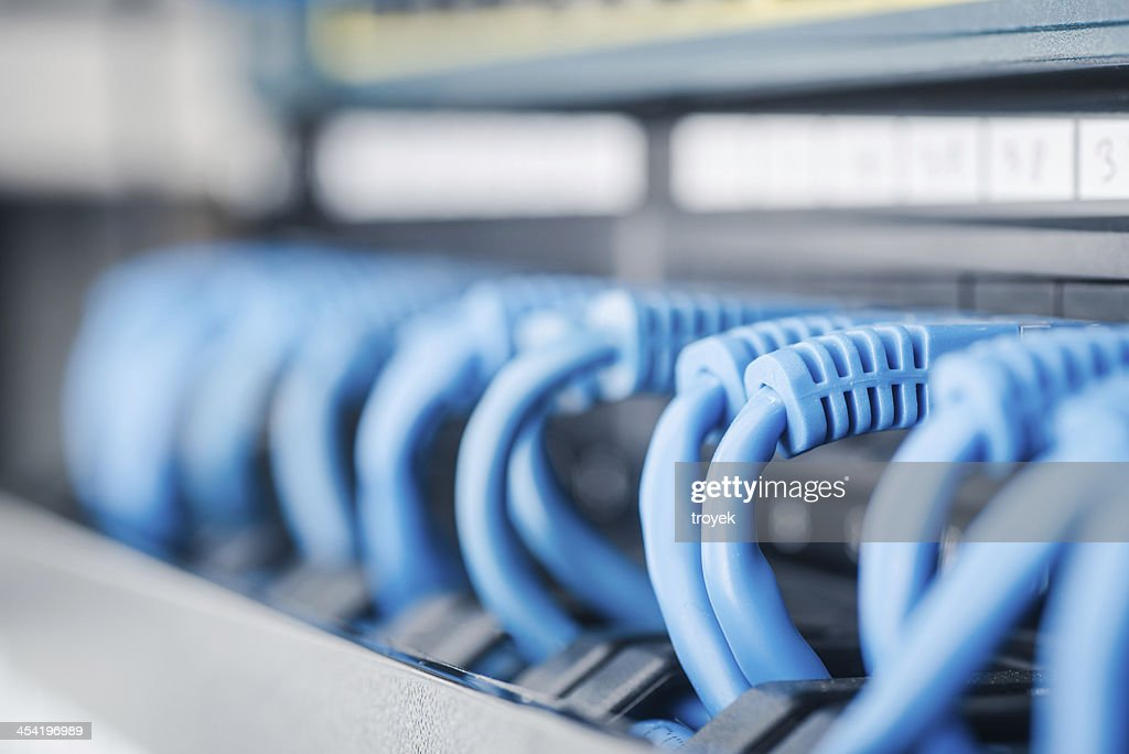 Network hub and cable : Stock Photo