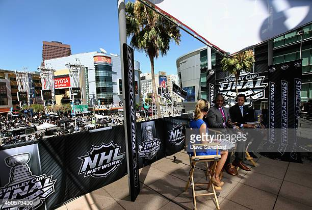 NHL Network Live talent Kathryn Tappen Kevin Weekes and Jamie McLennan host the pregame show before Game Five of the 2014 Stanley Cup Final between...