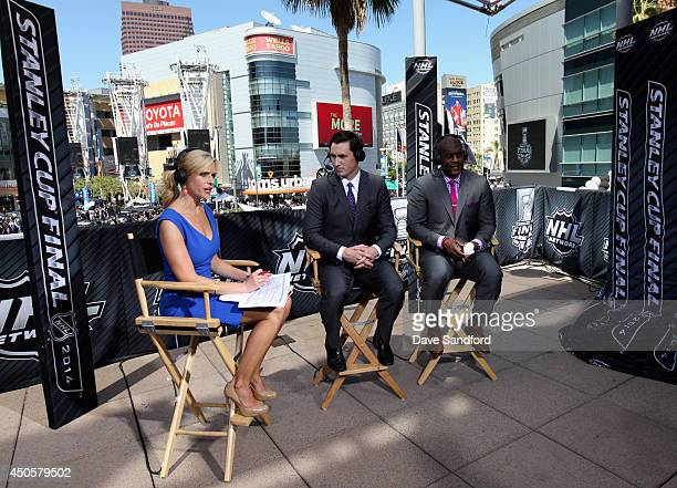 NHL Network Live talent Kathryn Tappen Mike Johnson and Kevin Weekes host the pregame show before Game Five of the 2014 Stanley Cup Final between the...