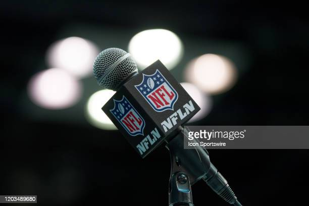 Network microphone on the podium during the NFL Scouting Combine on February 26, 2020 at the Indiana Convention Center in Indianapolis, IN.