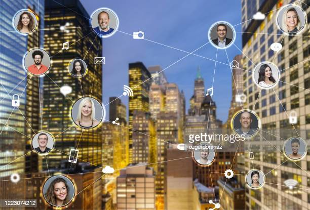 network of business people, new york city on the background - cyberspace stock pictures, royalty-free photos & images