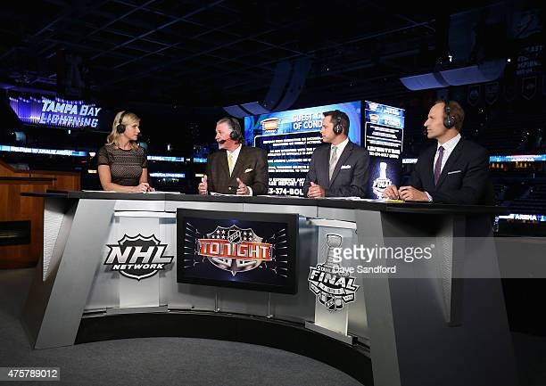 Network onair talent Kathryn Tappan Barry Melrose Martin Biron and Mike Rupp sit on the panel for the pregame show before the Chicago Blackhawks take...