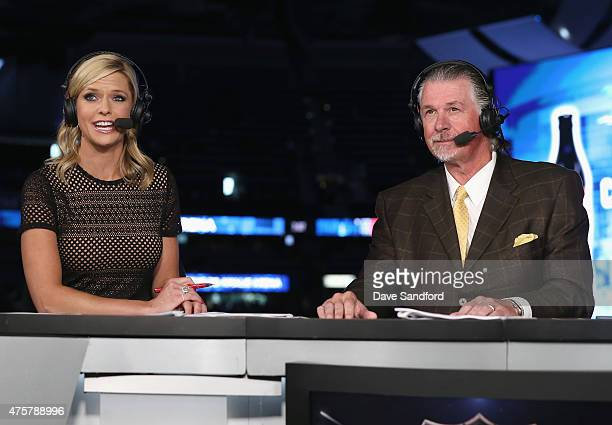 Network onair talent Kathryn Tappan hosts and Barry Melrose sits on the panel for the pregame show before the Chicago Blackhawks take on the Tampa...