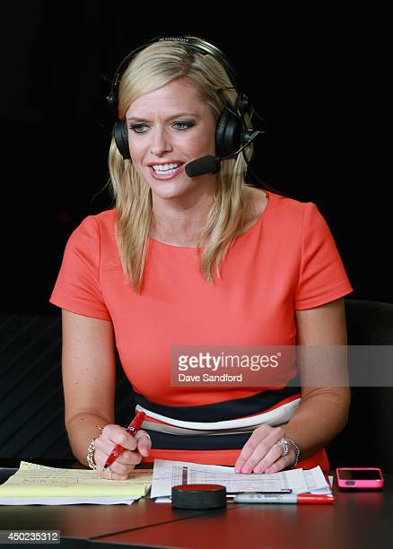 Network onair talent Kathryn Tappan hosts the postgame show after Game One of the 2014 Stanley Cup Final at Staples Center on June 4 2014 in Los...