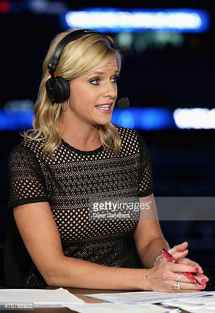 Network onair talent Kathryn Tappan hosts the pregame show before the cc take on the Tampa Bay Lightning in Game One of the 2015 NHL Stanley Cup...