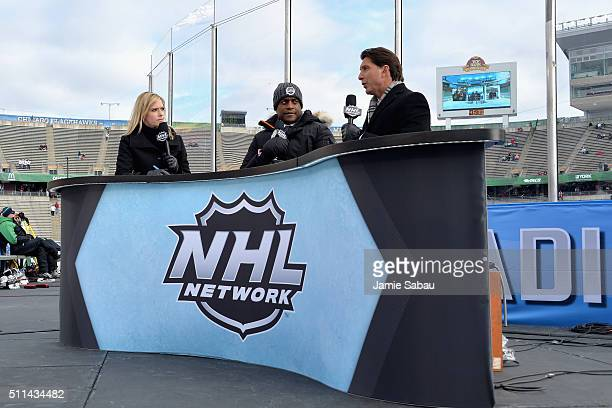 NHL Network onair talent Kathryn Tappan Kevin Weekes and Brian Lawton sit on the panel before the 2016 Coors Light Stadium Series Alumni Game at TCF...
