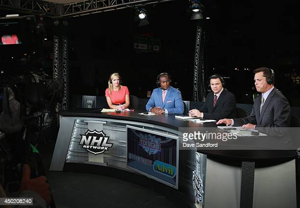 NHL Network onair talent Kathryn Tappan Kevin Weekes Jamie McLennan and Martin Biron host the postgame show after Game One of the 2014 Stanley Cup...