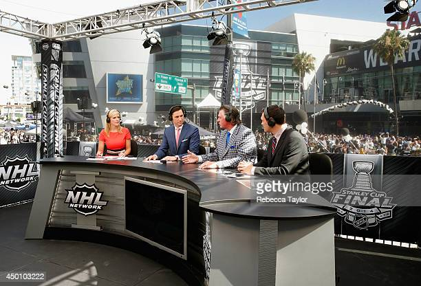 NHL Network onair talent Kathryn Tappan Mike Johnson Barry Melrose and Jamie McLennan host the pregame show before Game One of the 2014 Stanley Cup...