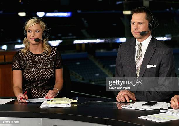 Network onair talent Kathryn Tappen and Martin Biron discuss Game One of the 2015 NHL Stanley Cup Final on the postgame show at Amalie Arena on June...