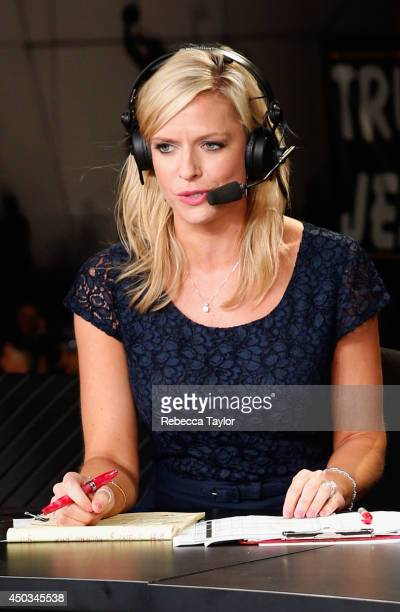 Network onair talent Kathryn Tappen hosts the postgame show after Game Two of the 2014 Stanley Cup Final at Staples Center on June 7 2014 in Los...
